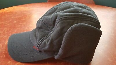 NWT Blue Waxed Cotton BARBOUR Quilted Cap Hat with Earflaps, size Large