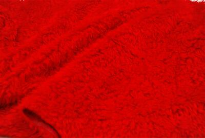 CURLY Teddy Faux Fur Fabric Material - BRIGHT RED