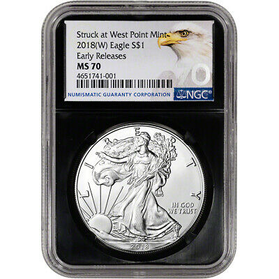 2018-(W) American Silver Eagle - NGC MS70 - Early Releases - Grade 70 - Black