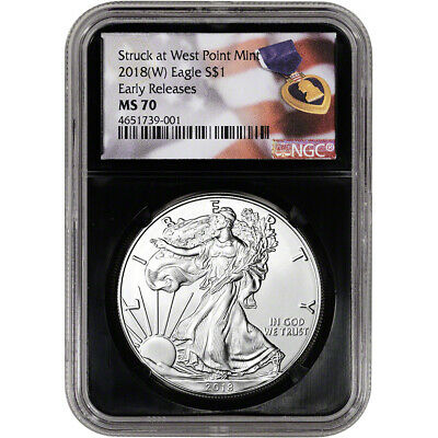 2018-(W) American Silver Eagle - NGC MS70 - Early Releases - Purple Heart Black