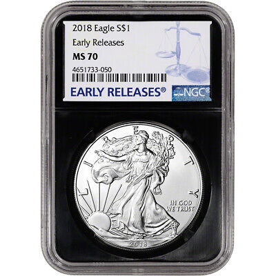 2018 American Silver Eagle - NGC MS70 - Early Releases - Black