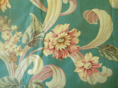 Vintage Floral Scroll Barkcloth Era Floral fabric ~Green Terracotta Salmon Mauve