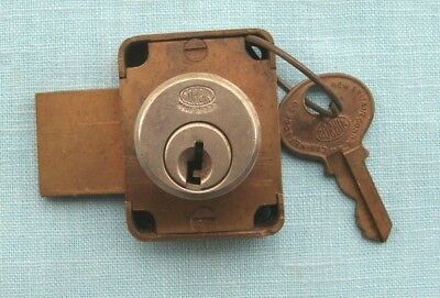 Desk or chest or door slide bolt  lock and key 1& 5/8  by 1 & 1/4 inch