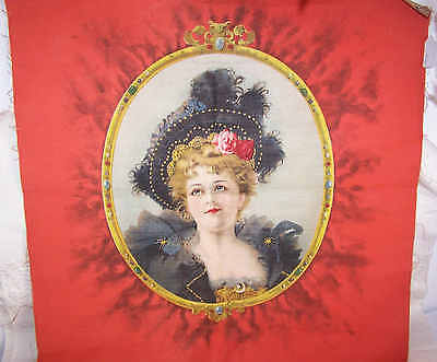 """Rare ANTIQUE VICTORIAN """"Merry Widow"""" Pillow Top - Lovely Lady in Black!"""