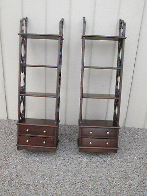 00001 Pair Solid Mahogany Whatnot Curio Shelf Bookcase s w/ Drawer s
