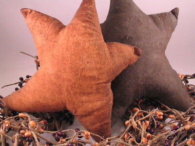 2 Primitive Folk Art Handcrafted Hand Painted Brown & Caramel Cotton Muslin Star