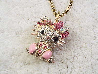 Goldtone Silvertone Pink Rhinestone Hello Kitty Pendant Necklace (D73)