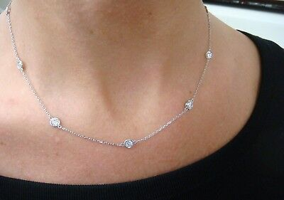 """2.00 Ct. Large Diamonds 10 Stations """"diamonds By The Yard"""" Necklace 18 Inches"""