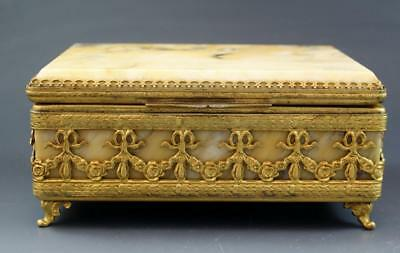 C1930 Italian Sienna Marble Dresser Jewelry Box w/ Gilt Bronze Mounts NR