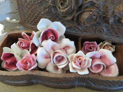 GORGEOUS Collection of 9 Old Vintage PORCELAIN Bisque ROSES PINK Various Sizes