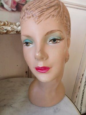 GORGEOUS OLD VINTAGE STORE DISPLAY MANNEQUIN HEAD FORM Woman HP FACE Eye Shadow