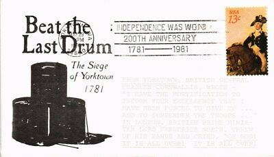 Dr Jim Stamps Us Beat The Last Drum Siege Of Yorktown Cover 1981 Bicentennial