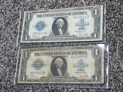 "1923 $1 Blue SILVER Certificate ""HORSEBLANKET"" Currency (lot of 2)"