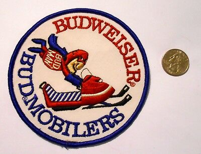 "Budweiser Beer Embroidered  Patch Vintage Ale  3-1/2"" Bud Man Sno Mobile"
