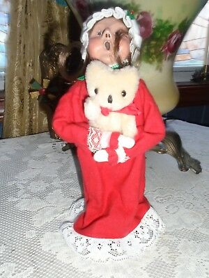 Byers Choice Caroler YOUNG LADY - GIRL HOLDING HER TEDDY BEAR SHE LOVES 1989