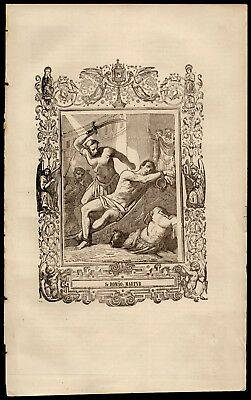 ST ROMANUS, MARTYR 167x267mm Antique 19th Cent. ENGRAVING FROM BOOK