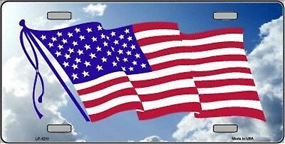 """American Flag Cloud Background Novelty 6"""" x 12"""" Metal License Plate Sign"""