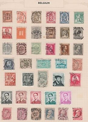 BELGIUM Assorted Stamps on Old Book Pages Coat of Arms etc USED per scan #