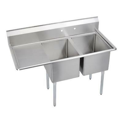 Elkay - 14-2C24X24-L-24X - 76 1/2 in Two Compartment Sink w/ Left Drainboard