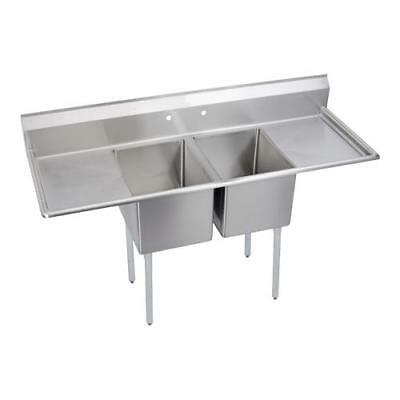 Elkay - 2C24X24-2-24X - 98 in Two Compartment Sink w/ Two Drainboards