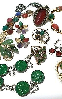 Vintage Sterling Silver Gold Filled Scarab Stone Oriental Antique Jewelry Lot