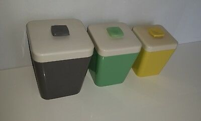 3 Gay Ware retro GayWare kitchen canisters in 3 different sizes & colours