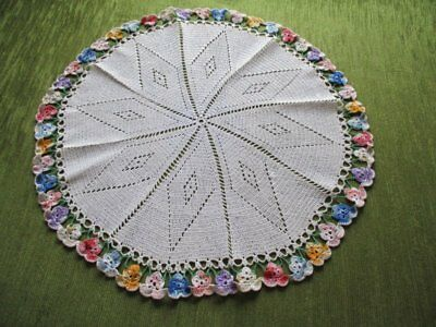 """VINTAGE PANSY TABLE CENTER HAND CROCHET - 20"""" dia."""