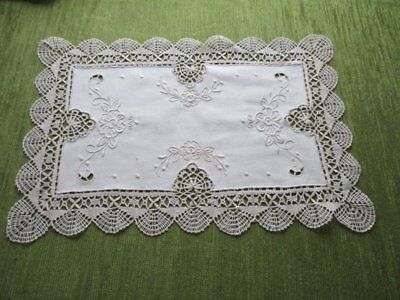 VINTAGE TRAY CLOTH HAND EMBROIDERED with BOBBIN LACE EDGE-UNUSED