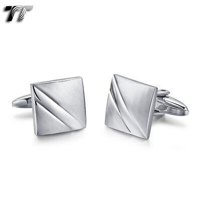 Classic MENS TT Stainless Steel Square Stripe Cufflinks CU55S NEW