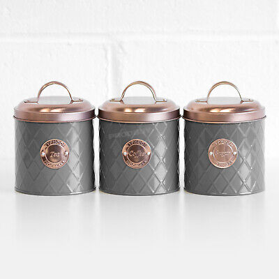 Typhoon Grey Tea Coffee Sugar Canisters with Copper Lids Kitchen Storage Jars