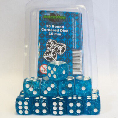 Set 15 dadi 16 mm BLACKFIRE Round Cornered Dice Blue / Blu