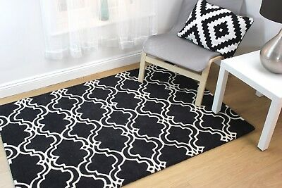 Traditional Charcoal Grey Trellis Living Room Rug Thick Moroccan Wool Area Rugs