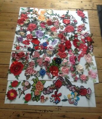 50+ Large Lot Of New Appliqué Sew On Floral Flower Rose Bright On Trend Patches