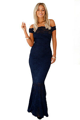 New Elegant Navy Off The Shoulder Promevening Gown Dress Size 8 10