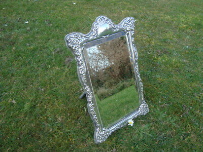 "Fab Large Victorian Style Sterling Silver Hallmarked Bevel Table Mirror 15"" 1992"