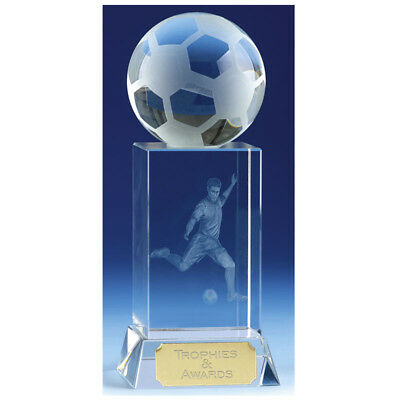 Football Soccer Crystal 3D Ball Quality Award Trophy Engraved Free Trophies