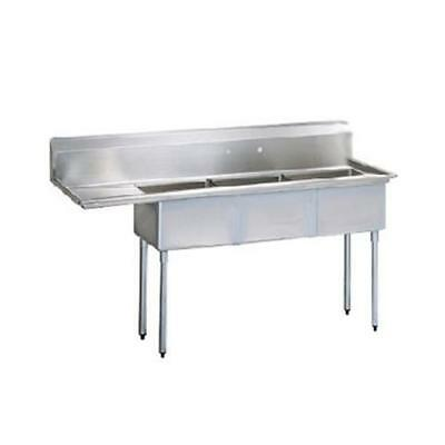 Turbo Air - TSA-3-12-L1 - 75 in Three Compartment Sink w/ 18 in Left Drainboard