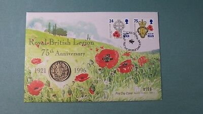 1996 First Day Cover Isle Of Man £2 Coin 75Th Anniversary Royal British Legion