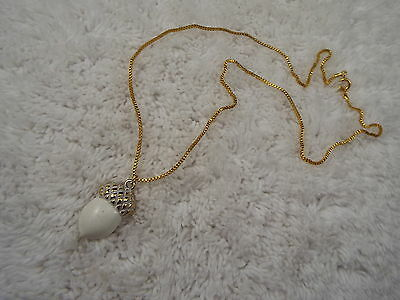 MONET Goldtone White Acorn Pendant Necklace (A44)