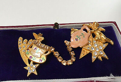 Rare Signed Kirks Folly Enamel Teapot/cup Angel Crystal Double Brooch/pin
