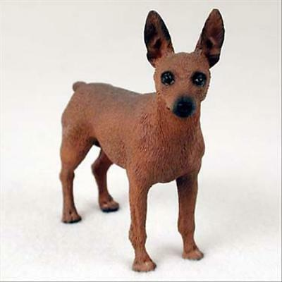Miniature Pinscher Red Brown Dog Hand Painted Canine Collectable Figurine Statue