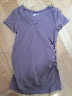GAP Maternity Pure Body Brown Short Sleeve V-neck Top XS