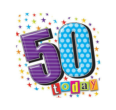 Fun 50 Today Shaped Birthday Badge