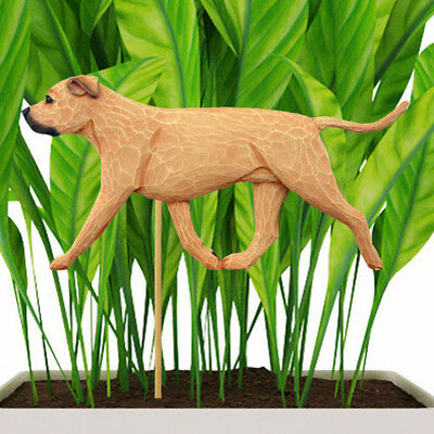 American Staffordshire Bull Terrier Planter Pick Stake Fawn Uncropped