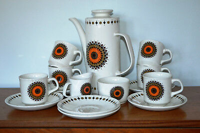 Vintage J&G Meakin INCA Studio Coffee Set by Jessie Tait 15 pieces