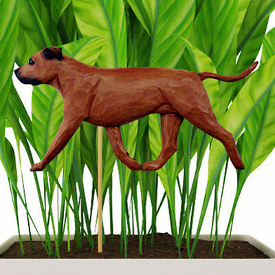 American Staffordshire Bull Terrier Planter Pick Stake Red Uncropped