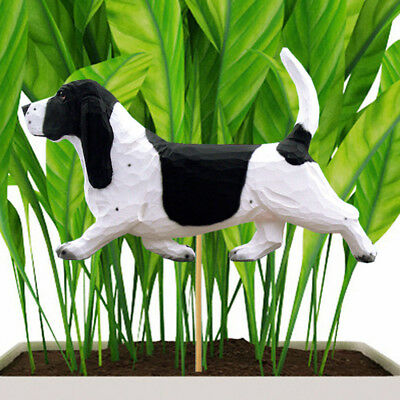 Basset Hound Planter Pick Stake Black