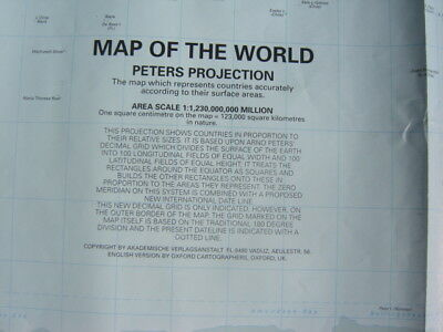 "PETERS PROJECTION MAP OF WORLD 23"" x 33"" POSTER GUC"