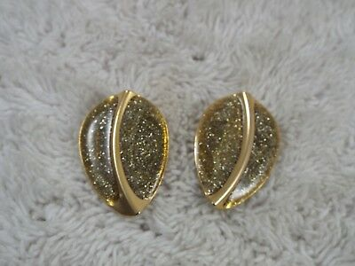 Goldtone Diamond Dust Glitter LEAF Pierced Earrings (D13)