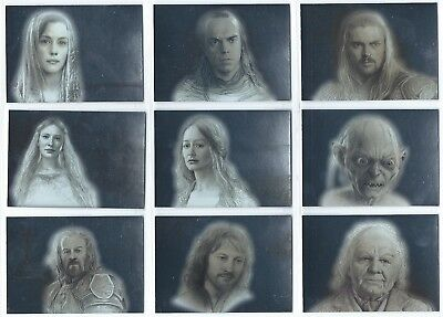 2006 Topps Lord of the Rings Masterpieces LOTR 1-9 Card Foil Art Insert Set